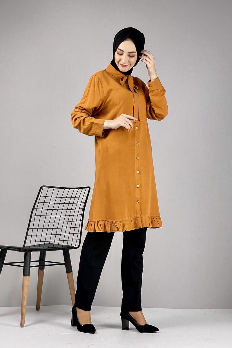 Moda Pinhan - Fırfırlı Tunik Hardal (1)