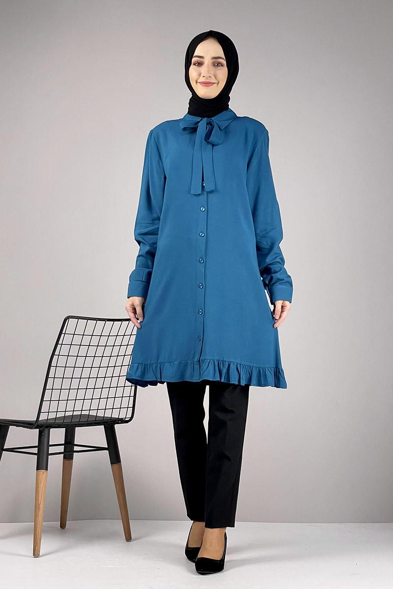Moda Pinhan - Fırfırlı Tunik Petrol Mavisi (1)