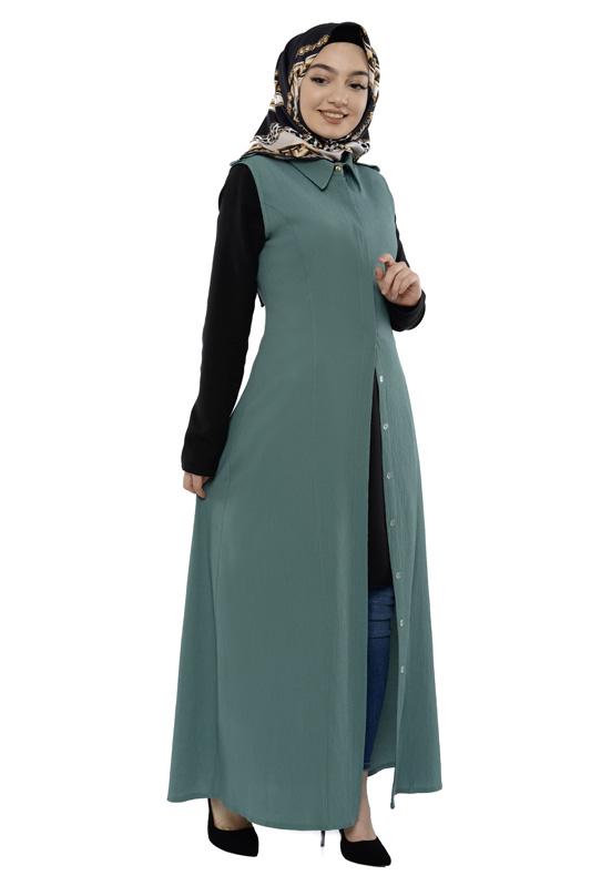 Moda Pinhan - Gömlek Yakalı Yelek Çağla Yeşili (1)