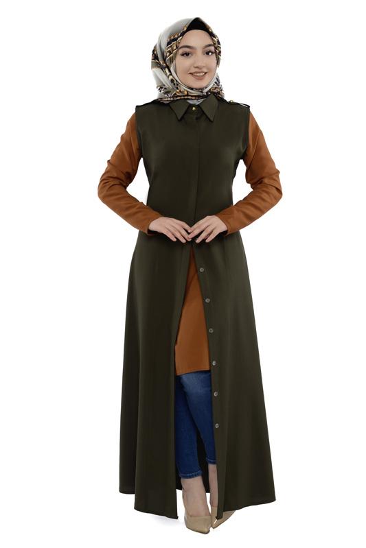 Moda Pinhan - Gömlek Yakalı Yelek Haki (1)