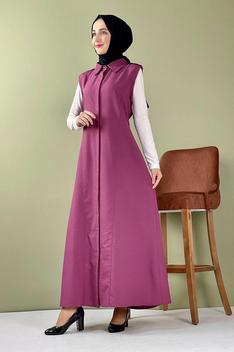 Moda Pinhan - Gömlek Yakalı Yelek Koyu Gül Kurusu (1)