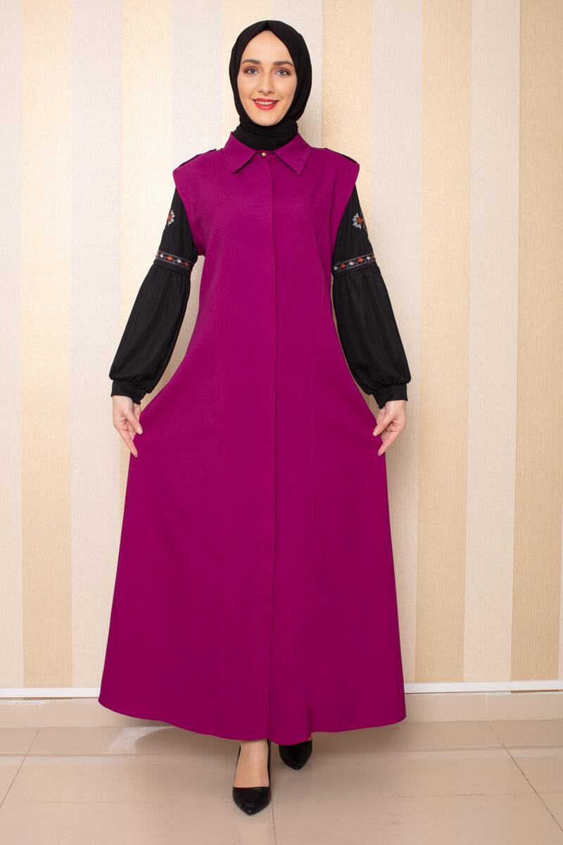 Moda Pinhan - Gömlek Yakalı Yelek Mürdüm (1)