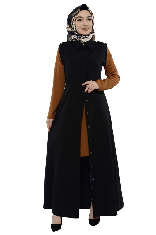Moda Pinhan - Gömlek Yakalı Yelek Siyah (1)