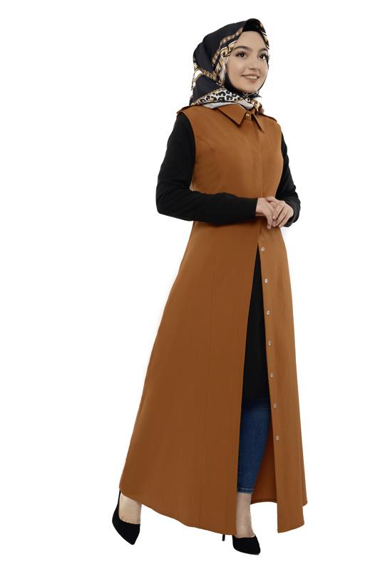 Moda Pinhan - Gömlek Yakalı Yelek Tütün (1)