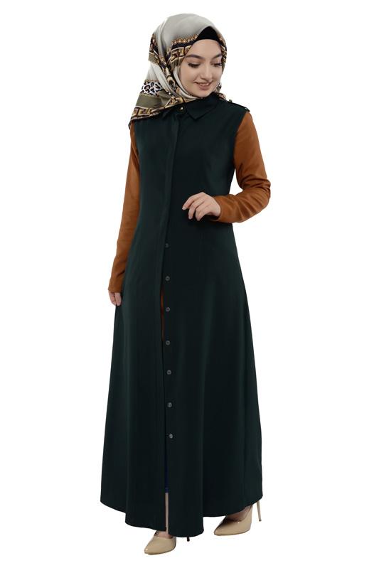Moda Pinhan - Gömlek Yakalı Yelek Zümrüt (1)