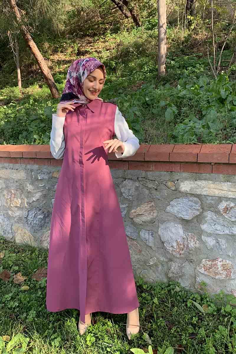 Moda Pinhan - Gömlek Yakalı Yelek Gül Kurusu (1)