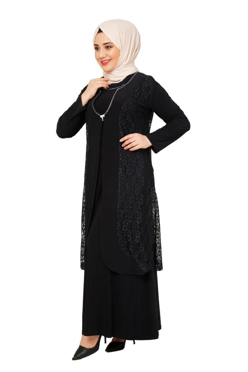 Mis Zemzem - Güpür Detaylı İkili Elbise Lacivert