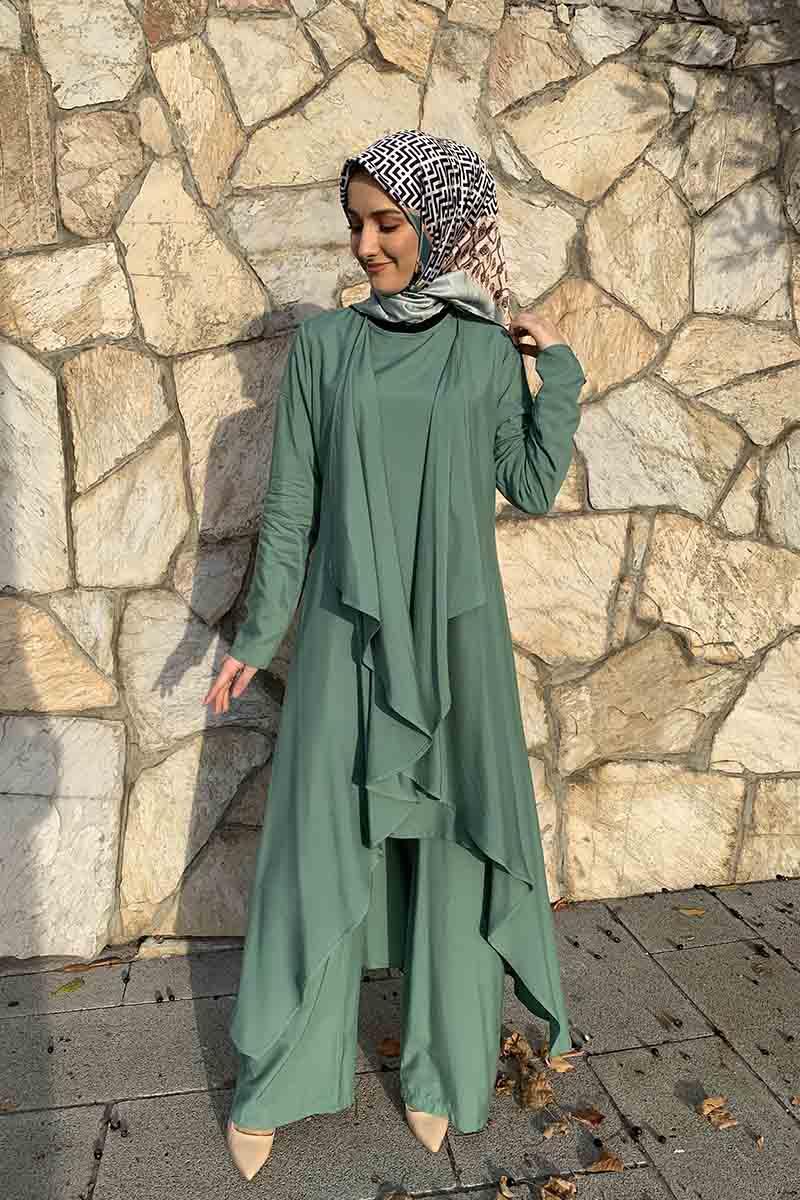 Moda Pinhan - Hırkalı 3 Lü Kombin Çağla Yeşili (1)