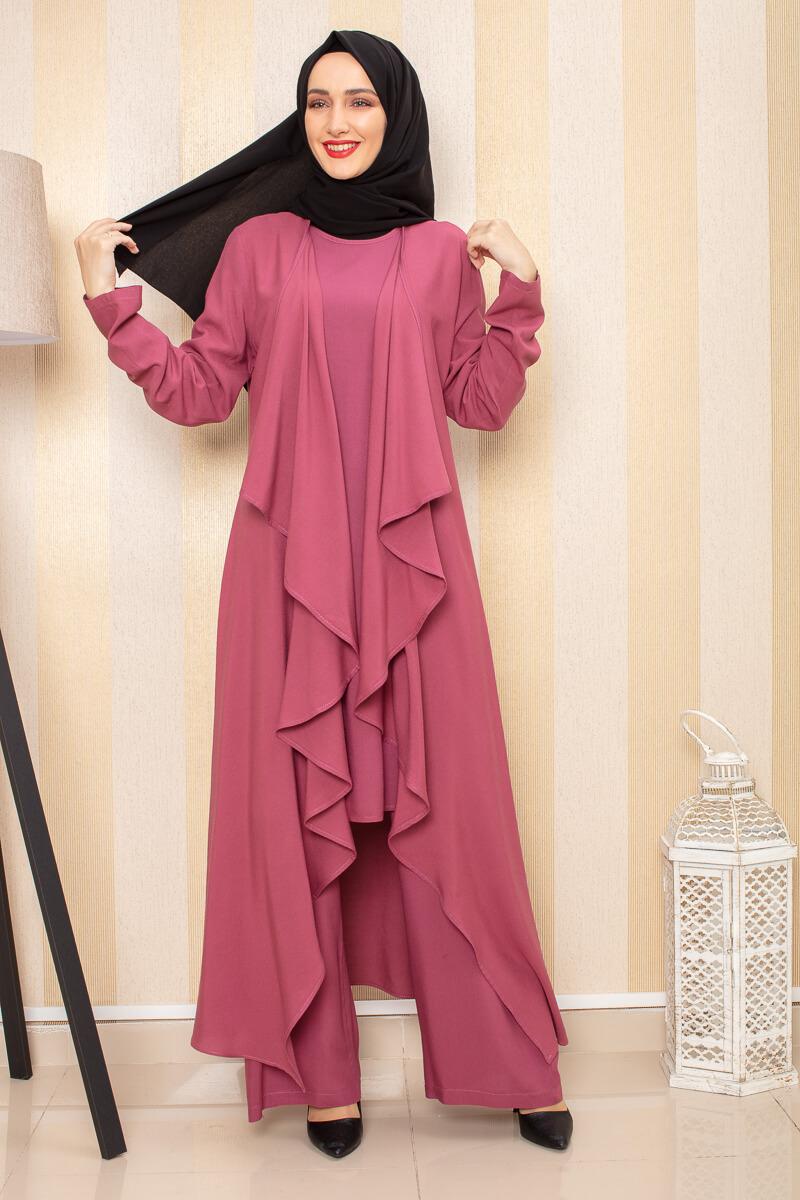 Moda Pinhan - Hırkalı 3 Lü Kombin Gül Kurusu (1)