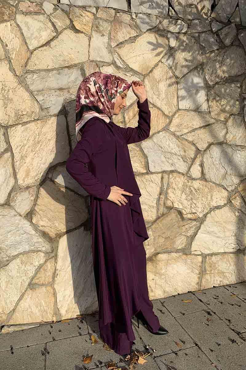 Moda Pinhan - Hırkalı 3 Lü Kombin Mor (1)