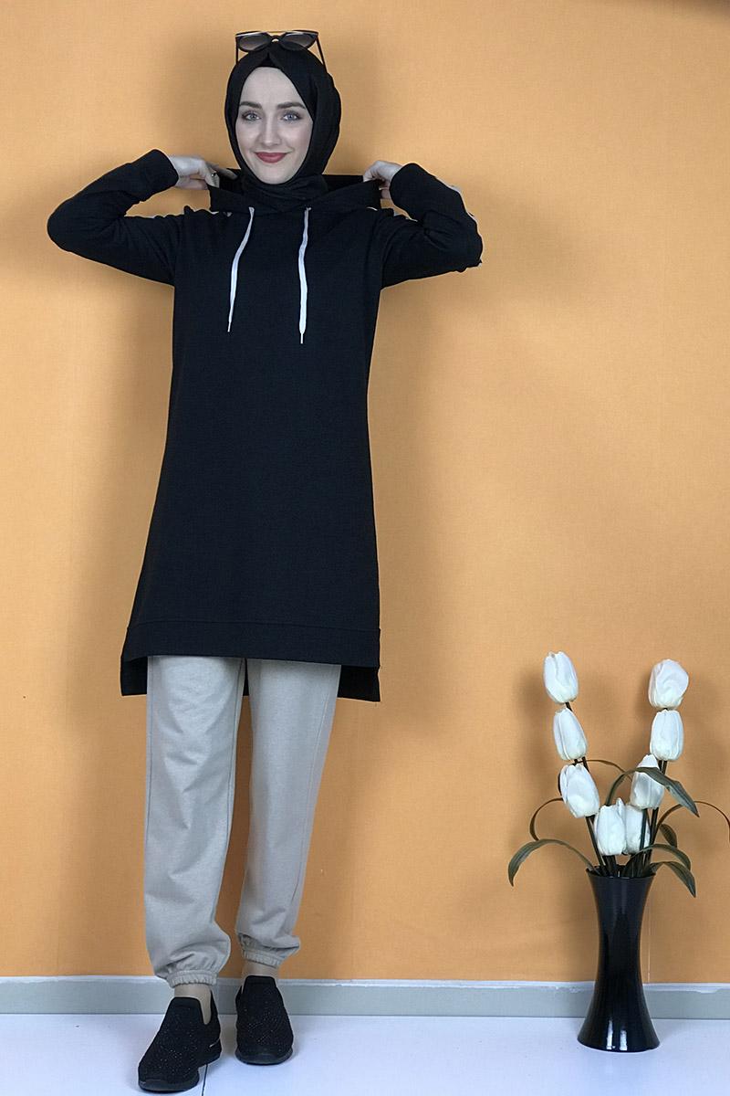 Moda Pinhan - İkili Eşofman Takım Siyah-Taş (1)