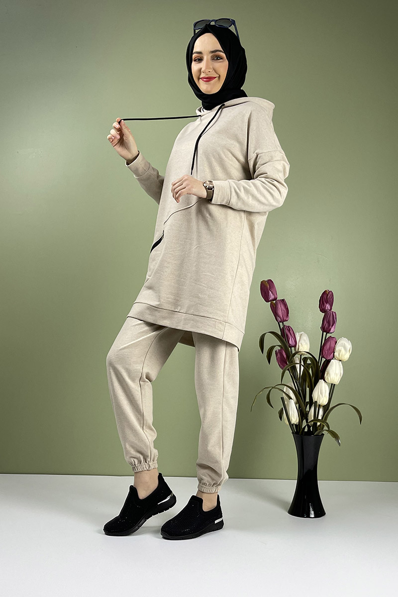 Moda Pinhan - İkili Eşofman Takımı Vizon (1)
