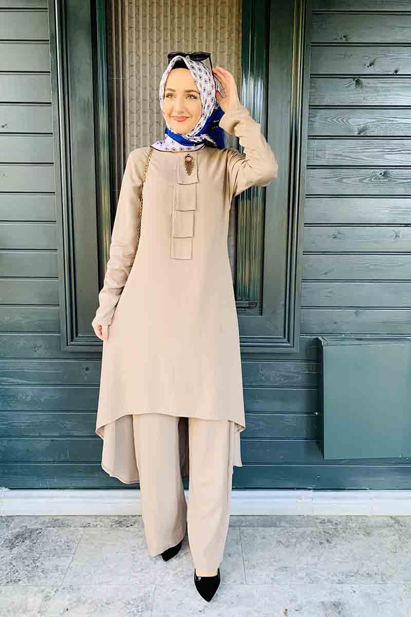 Moda Pinhan - İkili Tesettür Takım Vizon (1)