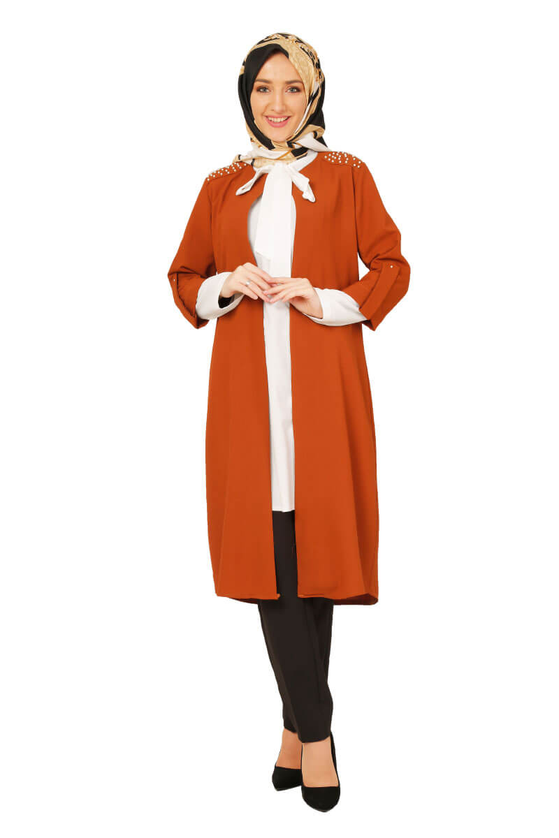Moda Pinhan - İncili İkili Takım Kiremit (1)