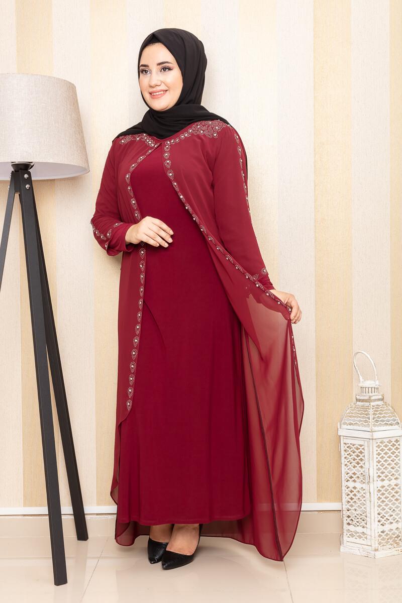 Moda Pinhan - İşleme Detaylı Abiye Bordo (1)