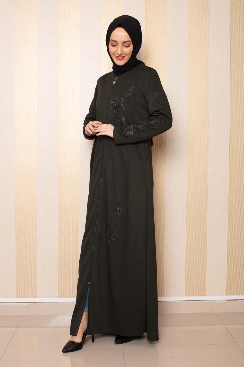 Moda Pinhan - İşleme Detaylı Ferace Haki (1)
