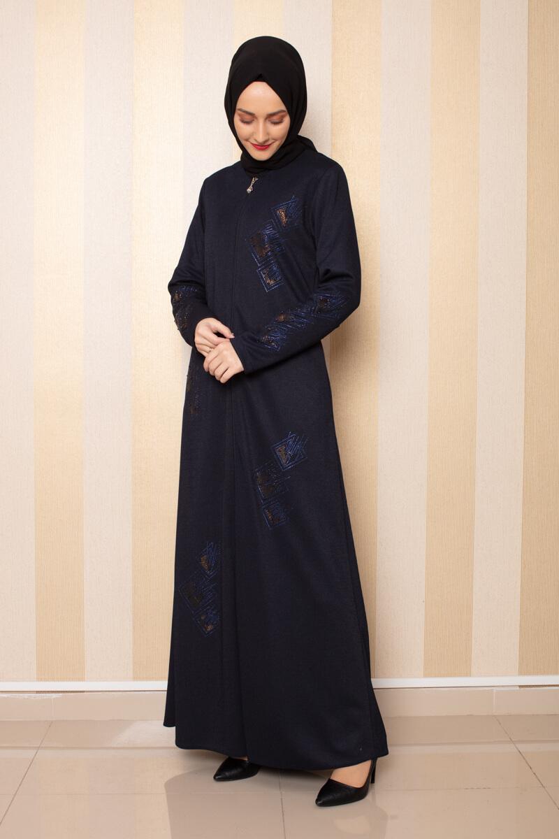 Moda Pinhan - İşleme Detaylı Ferace Lacivert (1)