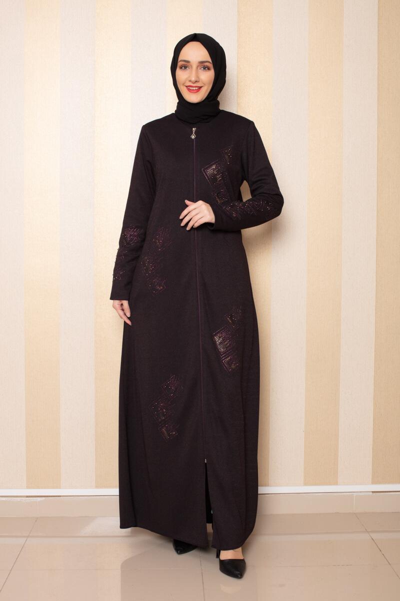 Moda Pinhan - İşleme Detaylı Ferace Mürdüm (1)