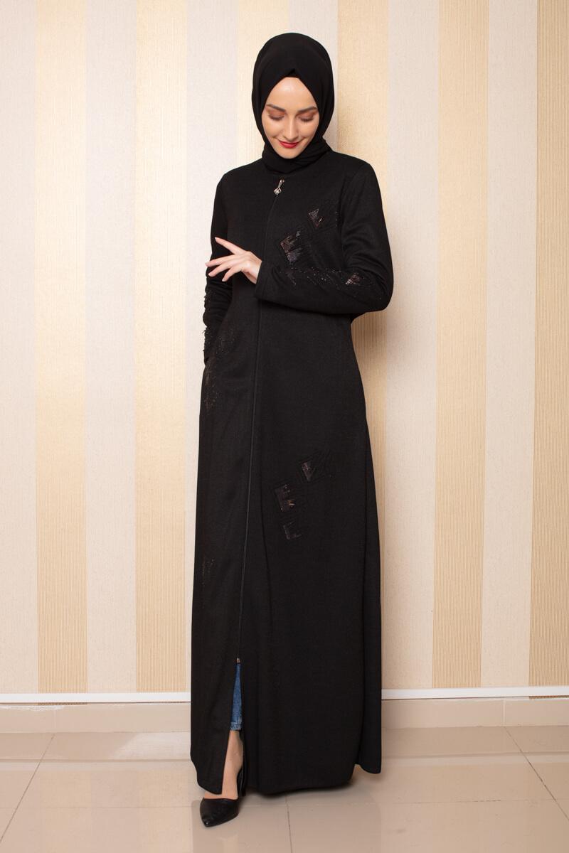 Moda Pinhan - İşleme Detaylı Ferace Siyah (1)