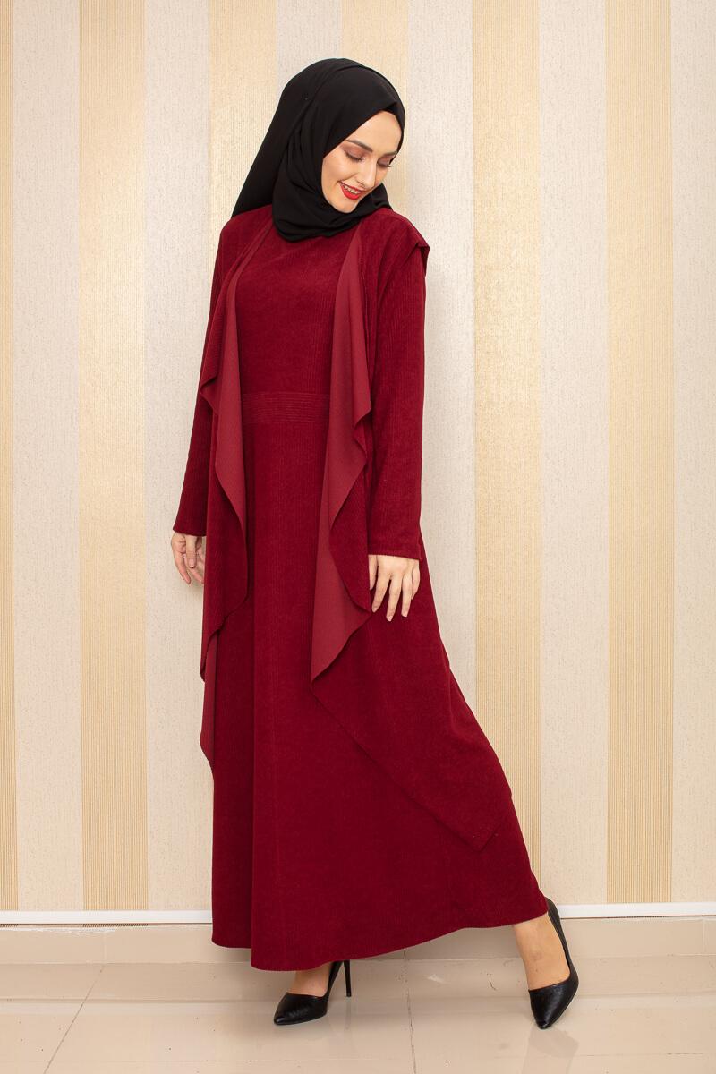 Moda Pinhan - Kadife İkili Kombin Bordo (1)