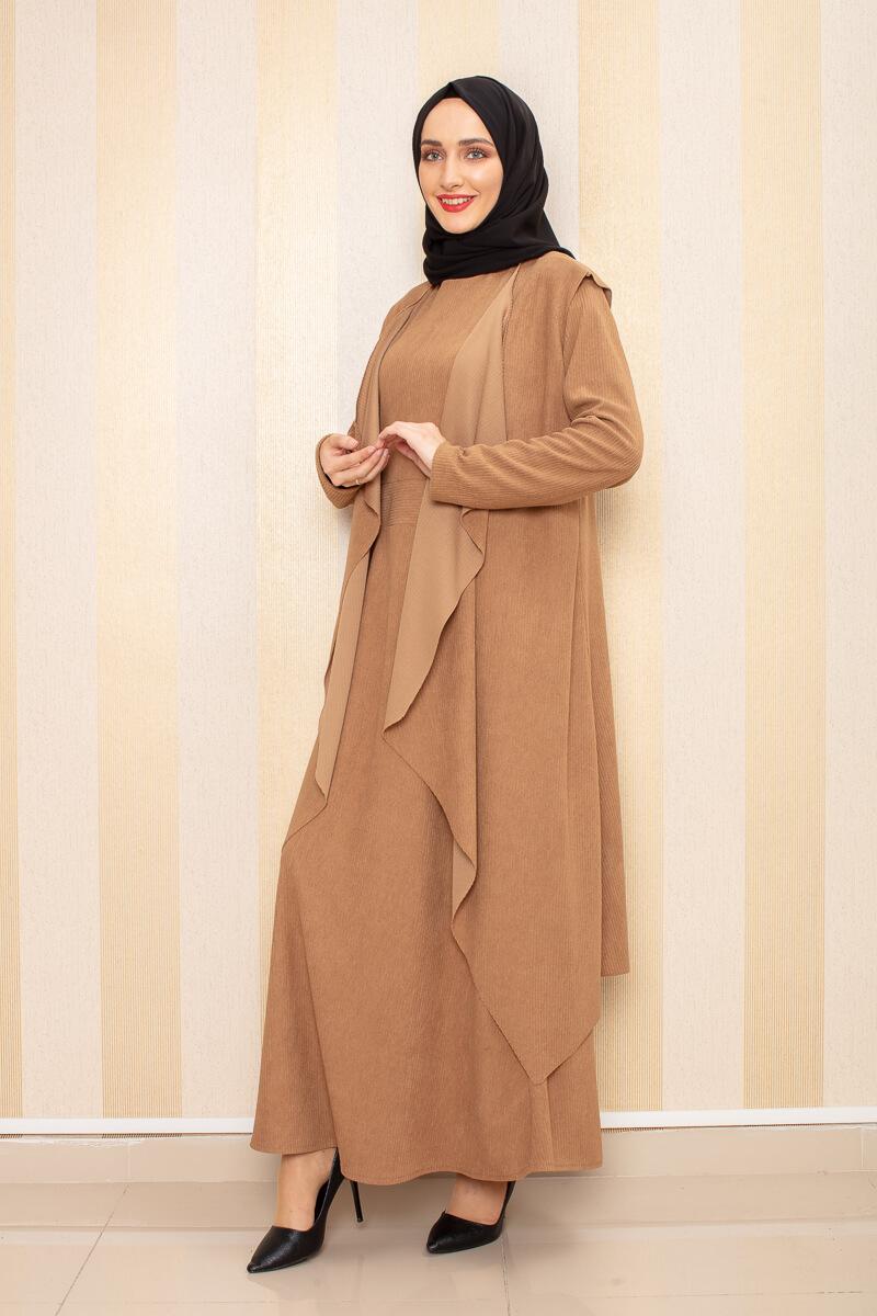Moda Pinhan - Kadife İkili Kombin Vizon (1)