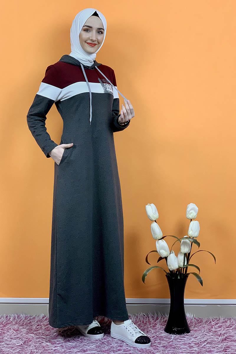 Kapşonlu Baskılı Tesettür Elbise Antrasit - Thumbnail