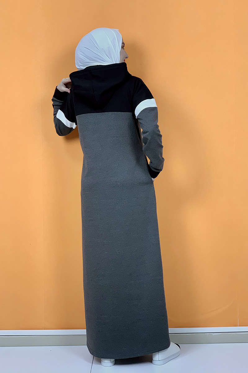 Kapşonlu Baskılı Tesettür Elbise Antrasit