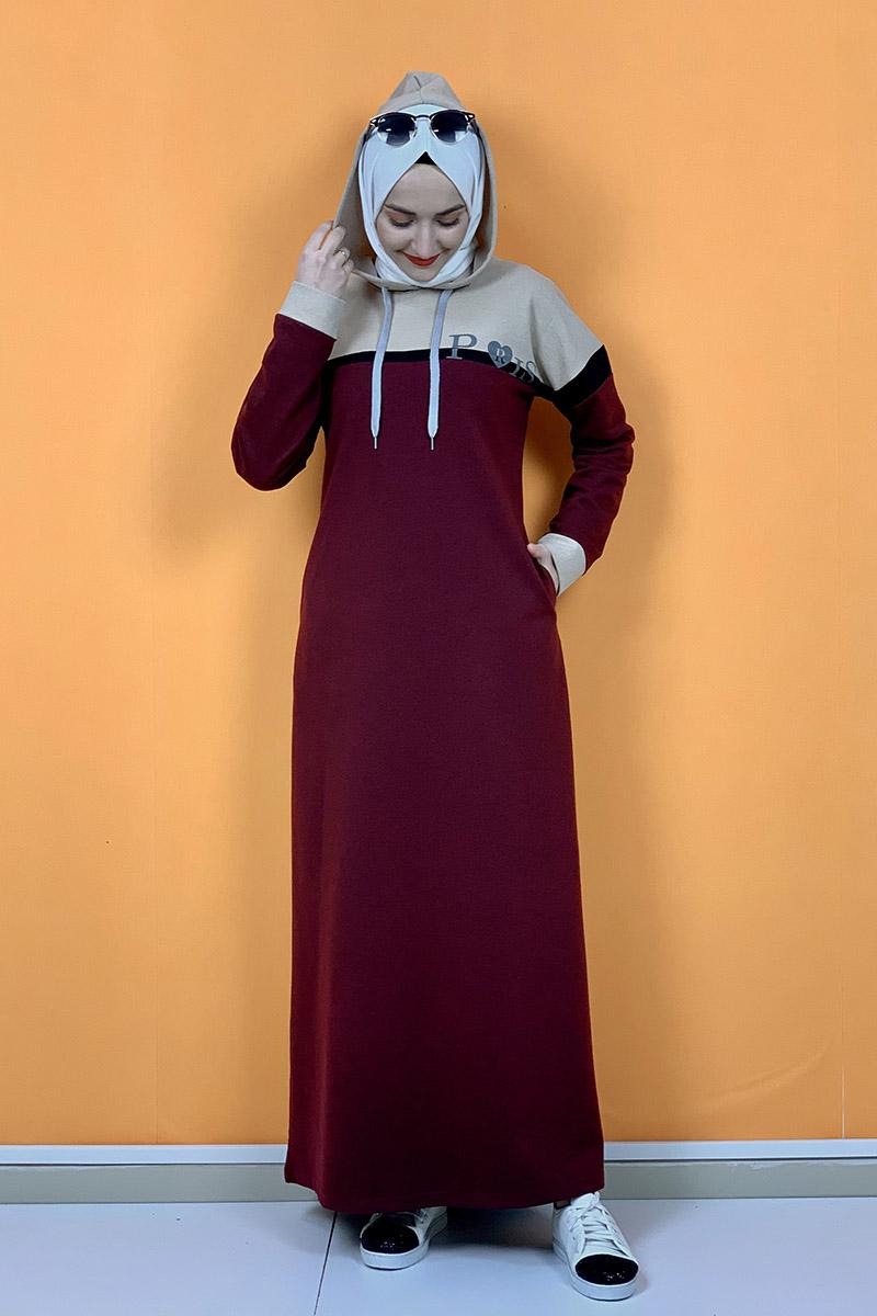 Kapşonlu Baskılı Tesettür Elbise Bordo