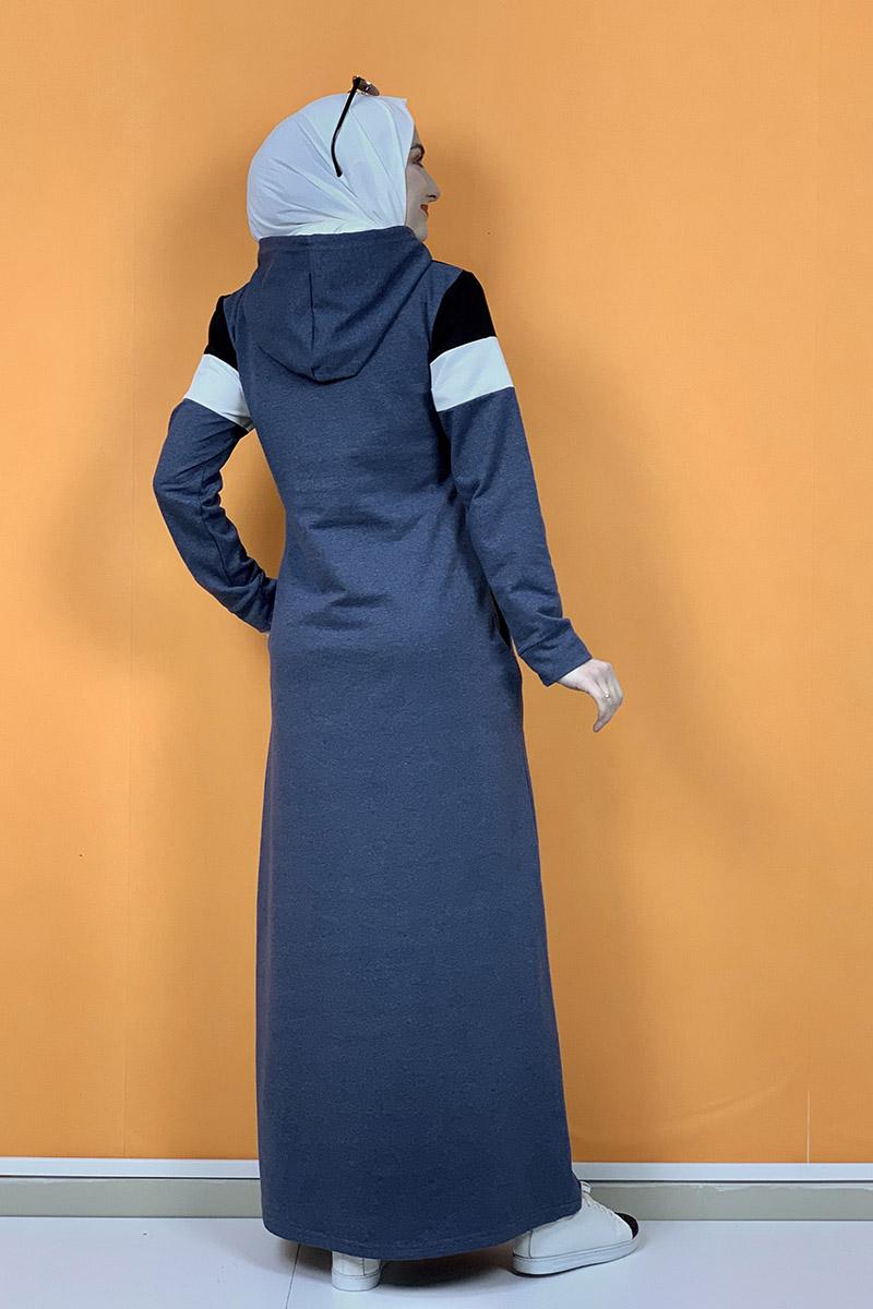Kapşonlu Baskılı Tesettür Elbise İndigo