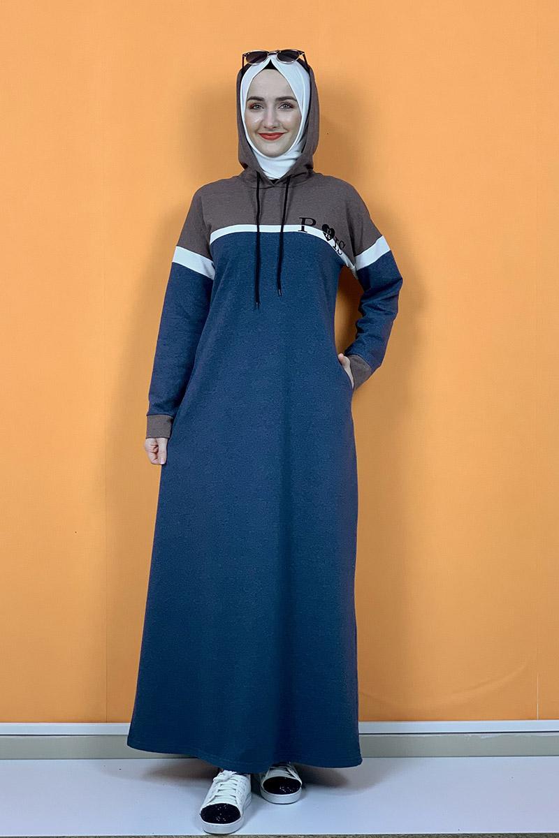Kapşonlu Baskılı Tesettür Elbise İndigo - Thumbnail