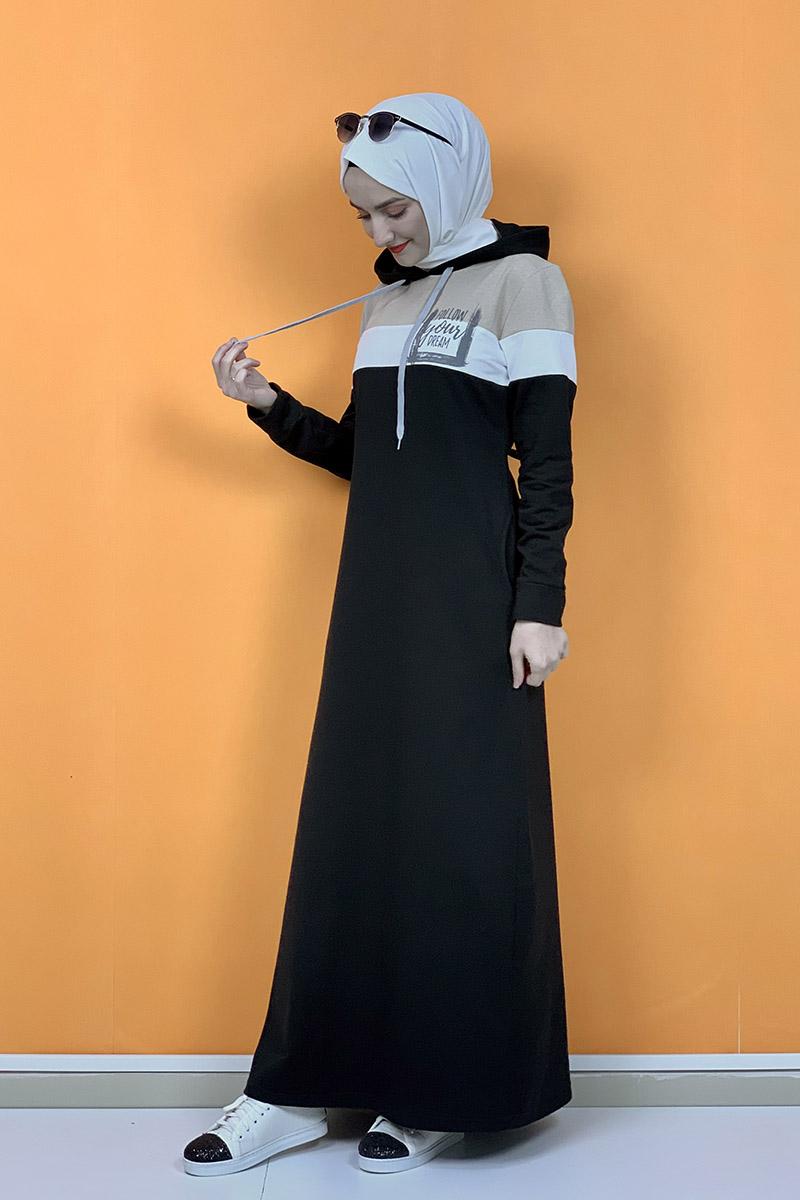 Kapşonlu Baskılı Tesettür Elbise Siyah - Thumbnail