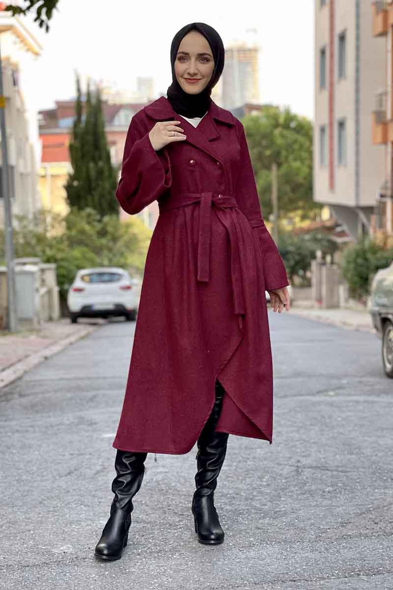 Moda Pinhan - Kaşe Kaban Bordo (1)