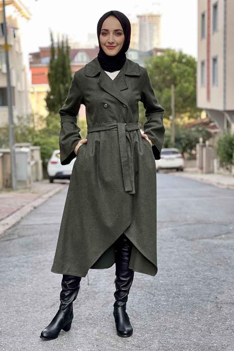 Moda Pinhan - Kaşe Kaban Haki (1)