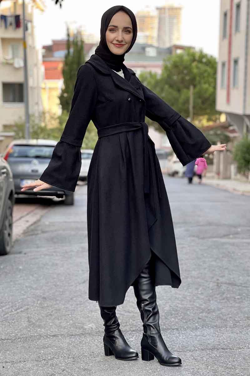 Moda Pinhan - Kaşe Kaban Siyah (1)