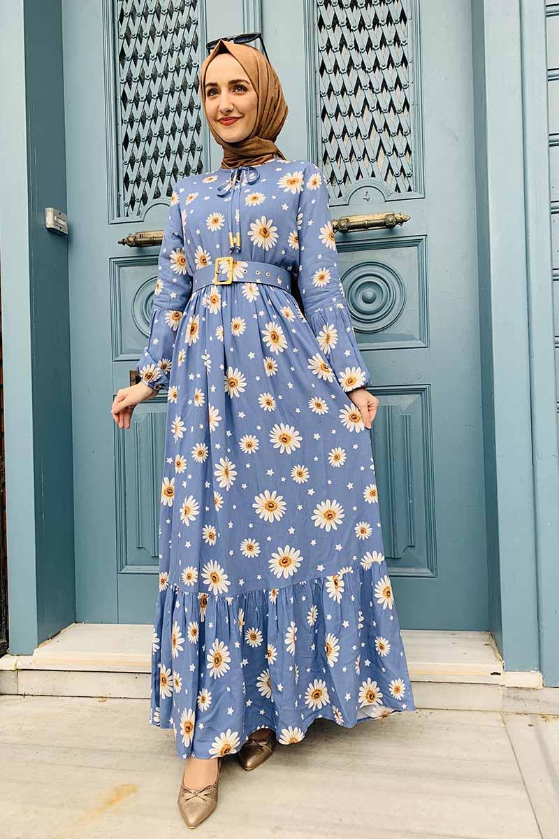 Moda Pinhan - Kemer Detaylı Desenli Tesettür Elbise Bebe Mavisi (1)