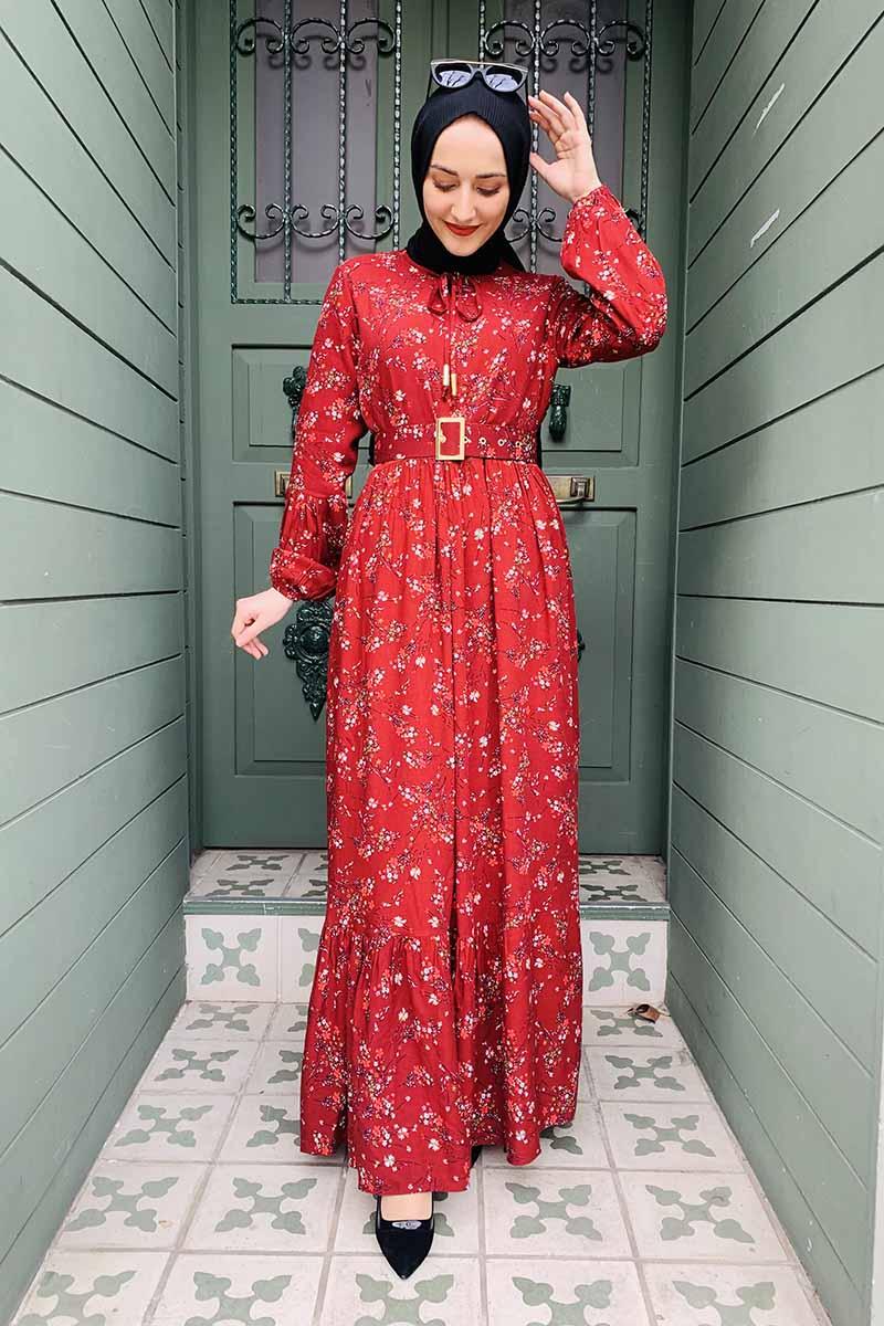 Moda Pinhan - Kemer Detaylı Desenli Tesettür Elbise Bordo (1)