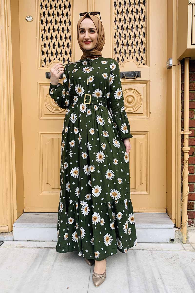 Moda Pinhan - Kemer Detaylı Desenli Tesettür Elbise Haki (1)