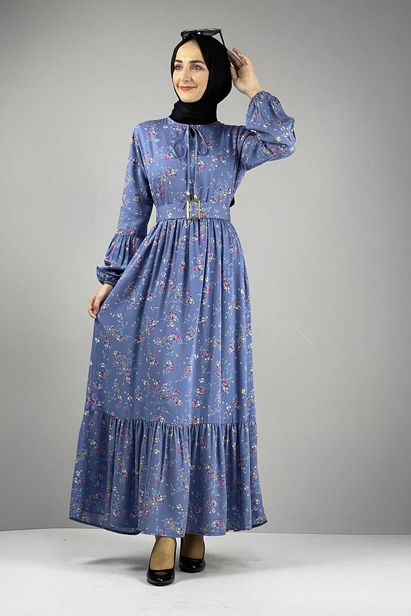 Moda Pinhan - Kemer Detaylı Desenli Tesettür Elbise İndigo (1)