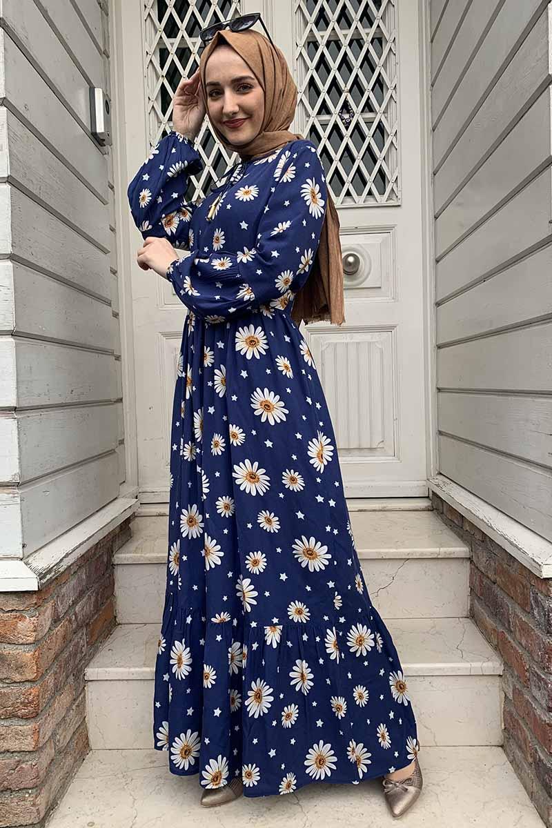 Moda Pinhan - Kemer Detaylı Desenli Tesettür Elbise Lacivert (1)