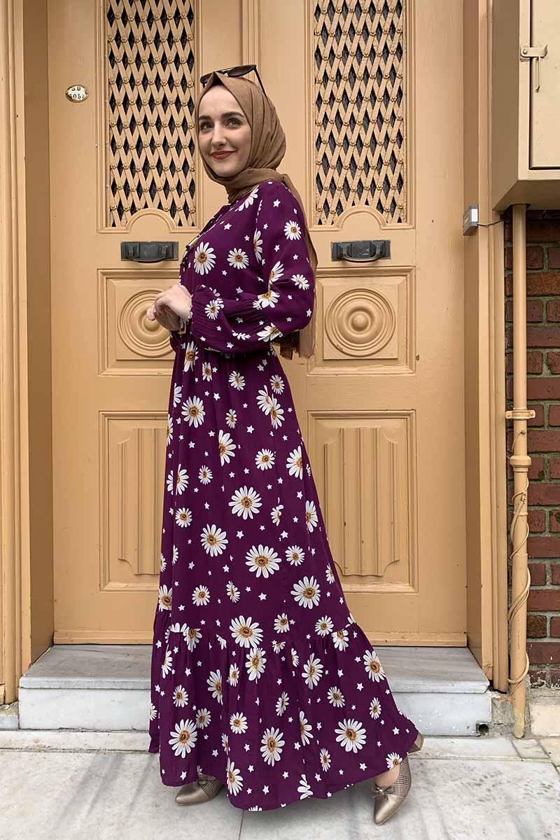 Moda Pinhan - Kemer Detaylı Desenli Tesettür Elbise Mürdüm (1)