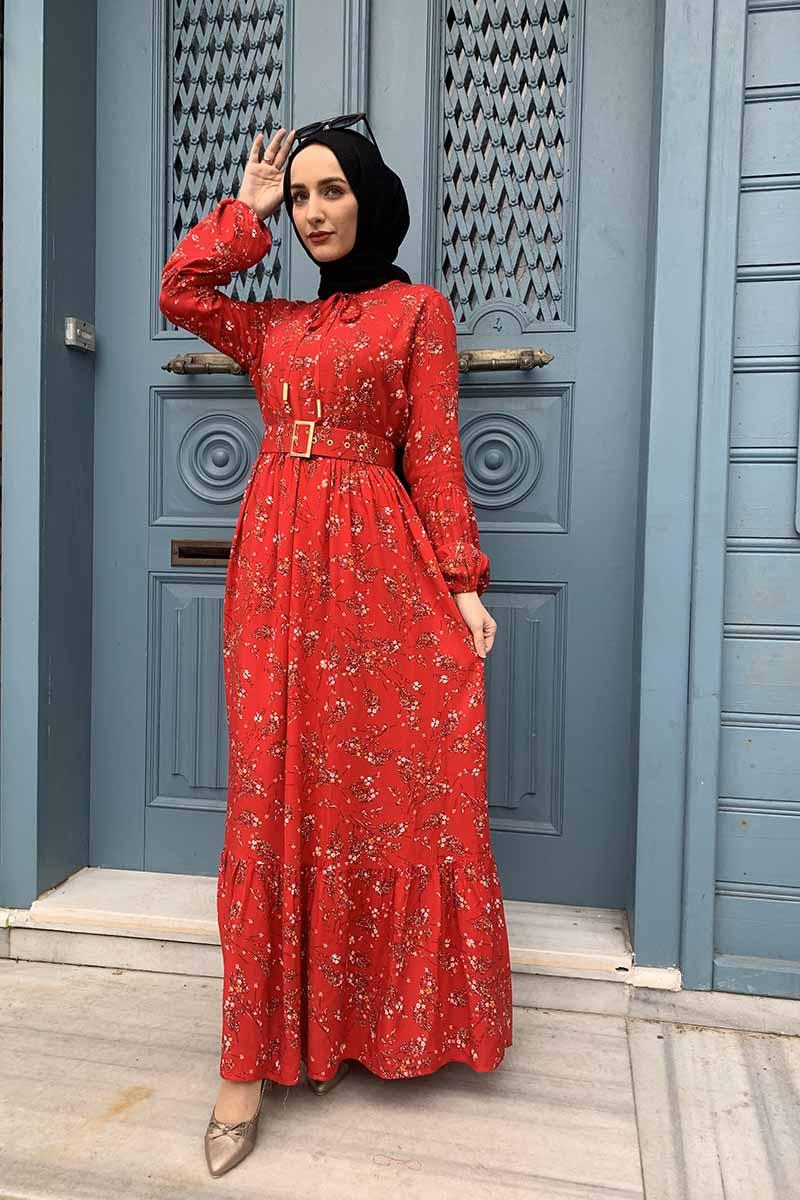 Moda Pinhan - Kemer Detaylı Desenli Tesettür Elbise Nar Çiçeği (1)