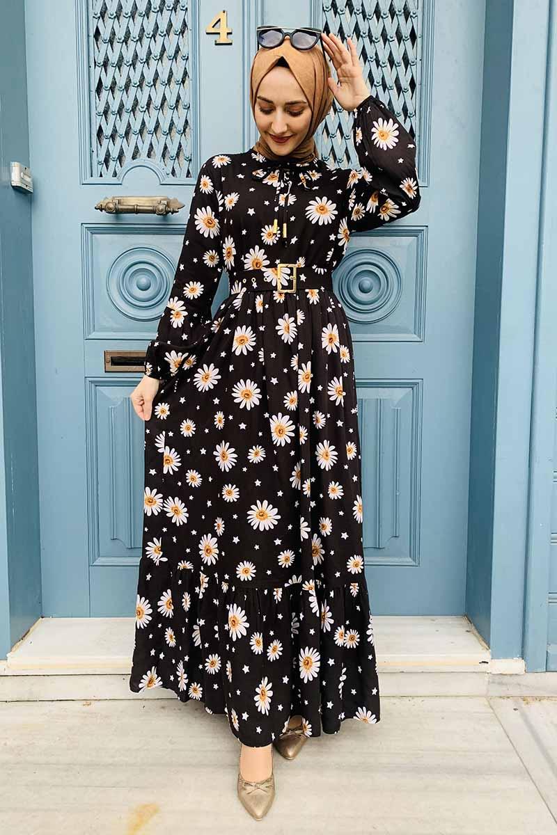 Moda Pinhan - Kemer Detaylı Desenli Tesettür Elbise Siyah (1)