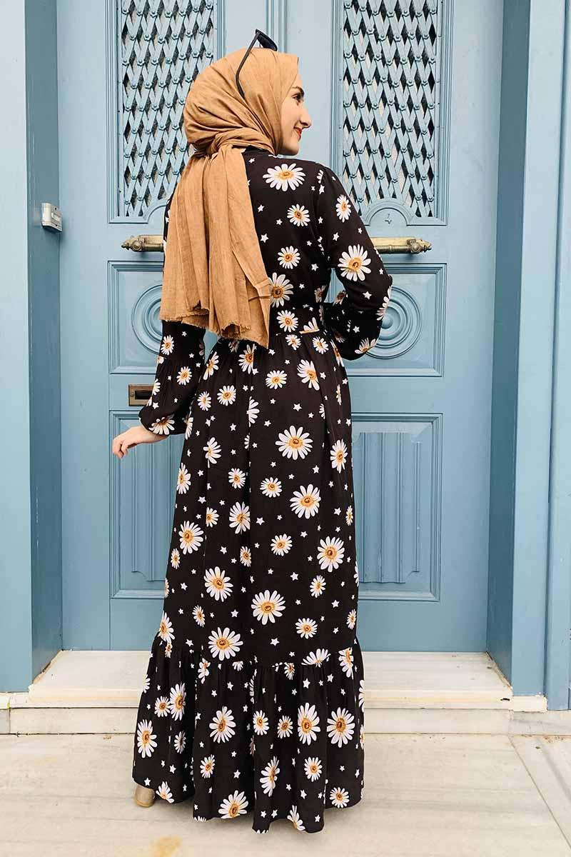 Kemer Detaylı Desenli Tesettür Elbise Siyah - Thumbnail