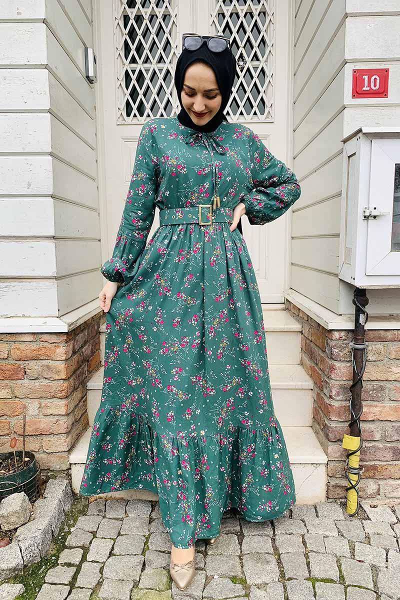 Moda Pinhan - Kemer Detaylı Desenli Tesettür Elbise Yeşil (1)