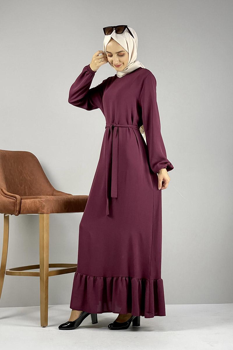 Moda Pinhan - Kemerli Aerobin Elbise Vişne (1)