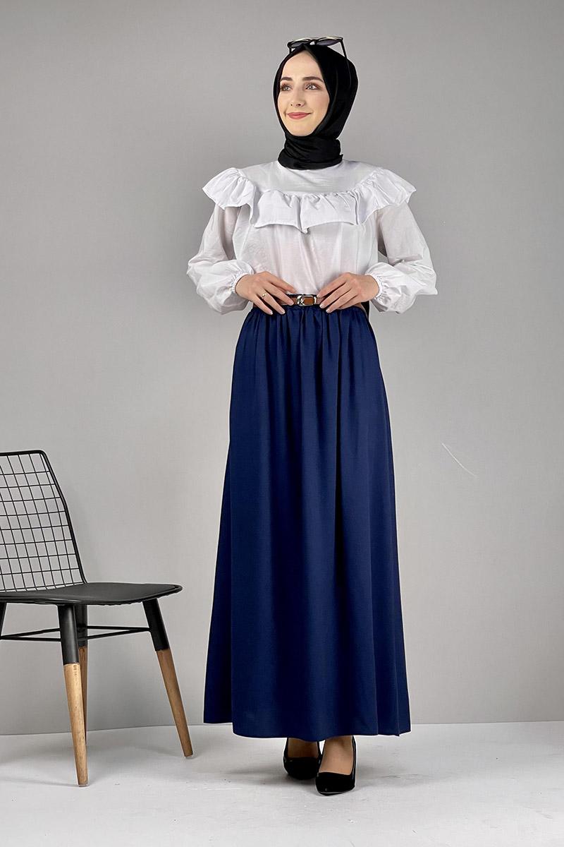 Moda Pinhan - Kemerli Etek Lacivert (1)