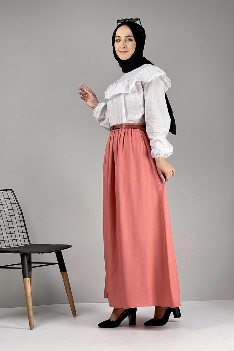 Moda Pinhan - Kemerli Etek Nar Çiçeği (1)