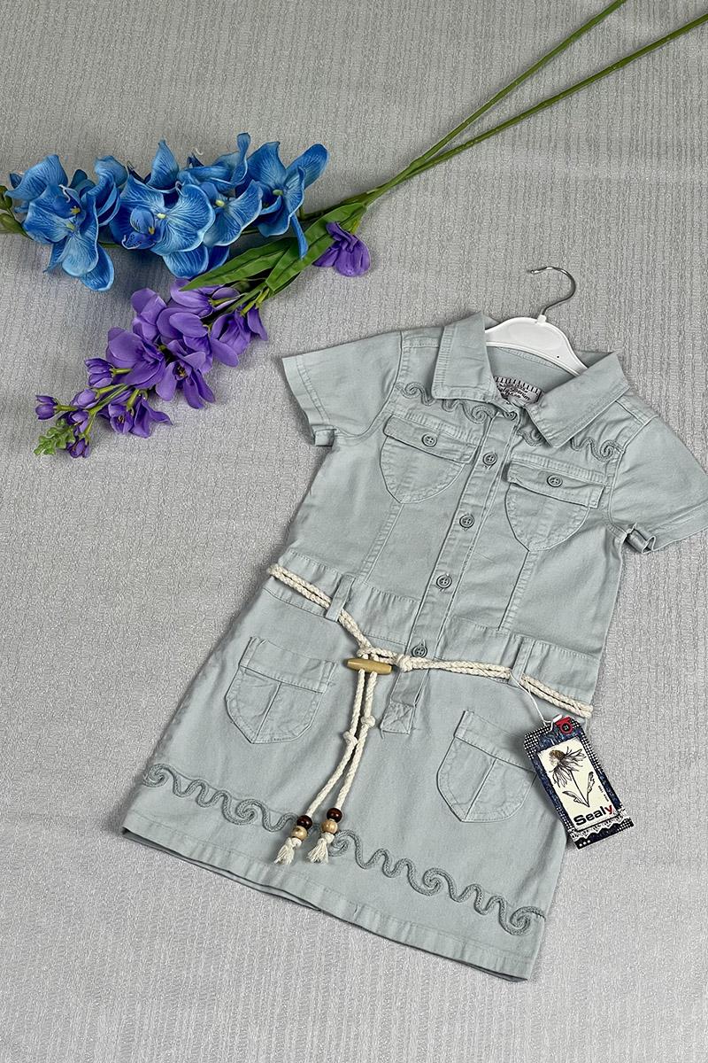 Kız Çocuk Elbise Mavi - Thumbnail