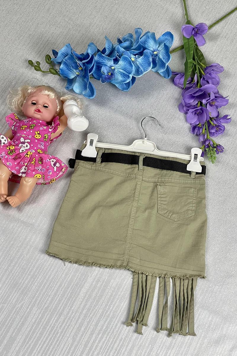 Moda Pinhan - Kız Çocuk Kot Etek Yeşil (1)