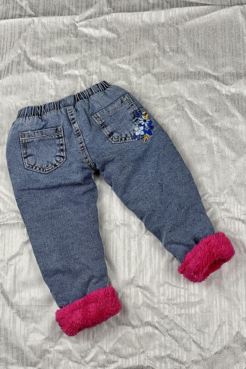 Moda Pinhan - Kız Çocuk Kot Pantolon Koyu Pembe (1)